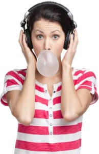 woman-with-headphones-and-gum-194x300